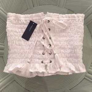 AMERICAN EAGLE NWT LACE FRONT TUBE TOP WHITE